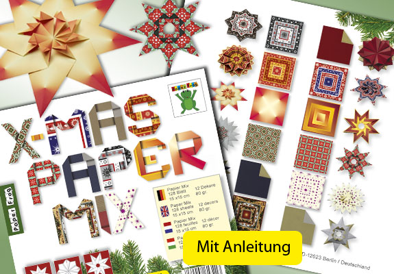 X-Mas Paper Papier Mix paper Weihnachten rot gelb braun red yellow brown Origami
